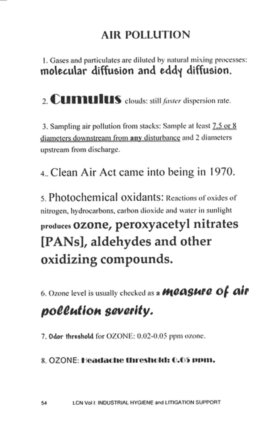 Page from Legis Concise Notes: Air Pollution