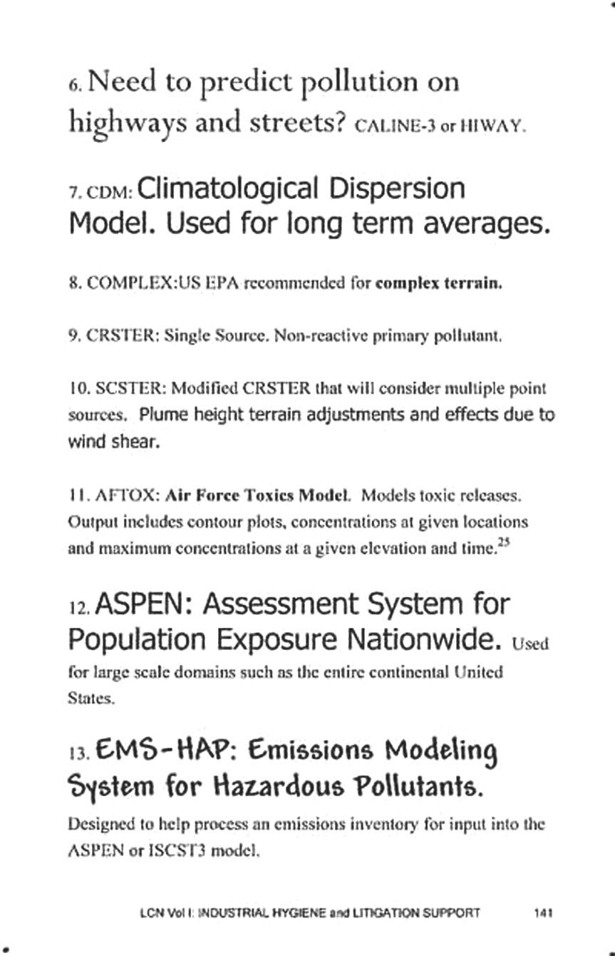 Page from LEGIS CONCISE NOTES: Air Dispersion modeling.